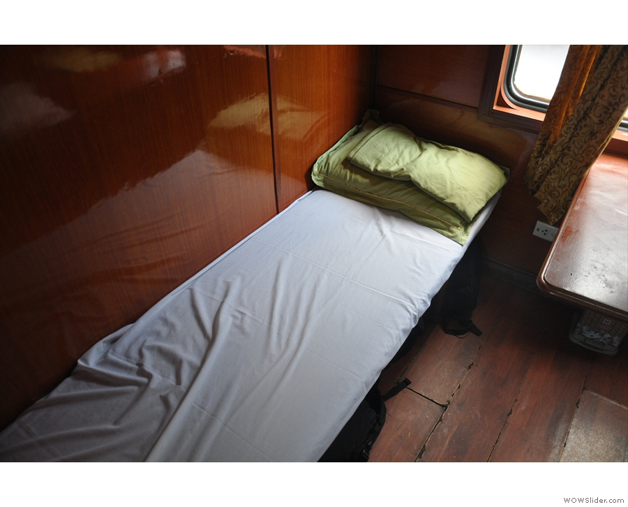 This was my bunk, by the way, lower berth, facing the direction of travel.