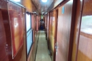On the sleeper car and access to the compartment is by means of this long corridor.