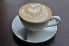 Talking of espresso, I began with a generous-sized flat white with some amazing latte art.