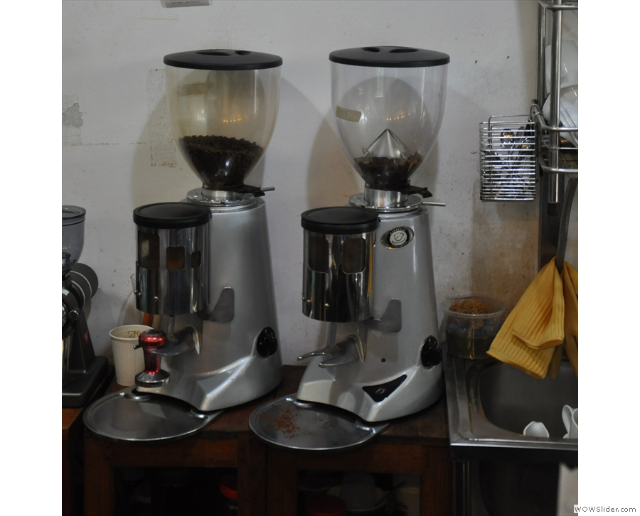 The espresso machine has two grinders, one of the each of the two house blends.