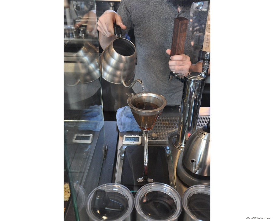 La Colombe uses the Silvertown dripper, seen here in action making my coffee.