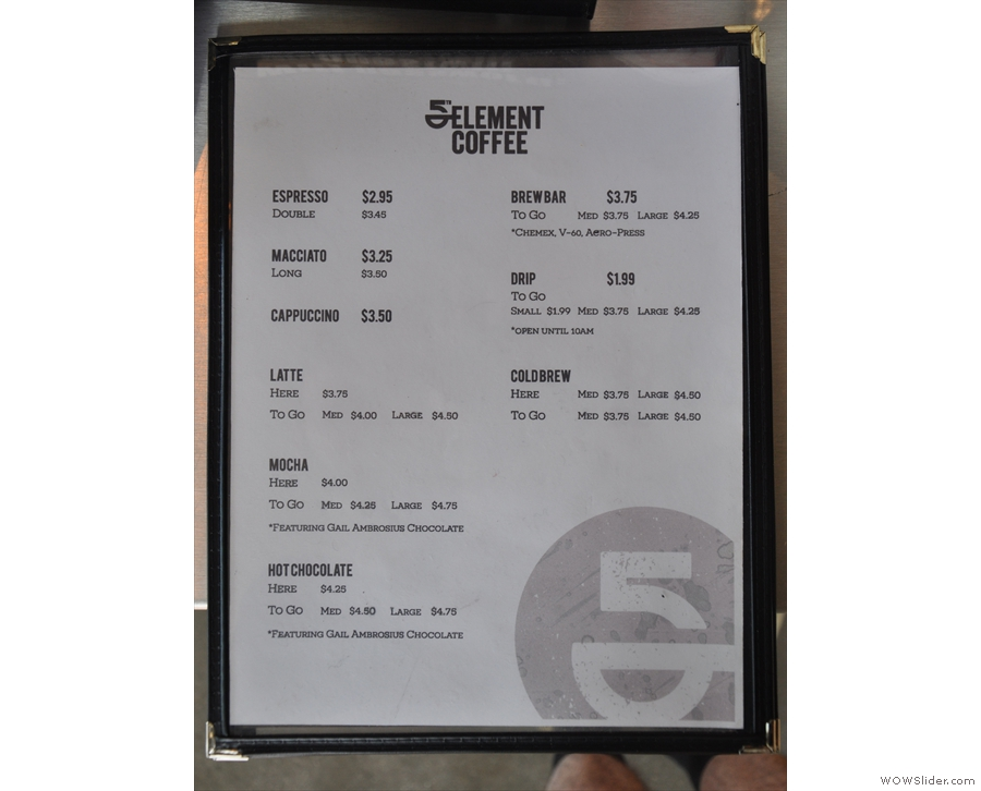 There's a printed (and concise) coffee menu...