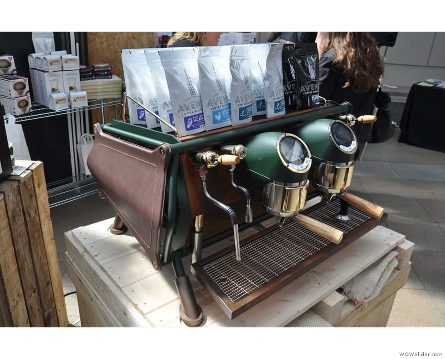 ... showing off Sanremo's custom Cafe Racer espresso machine. Such a beauty!