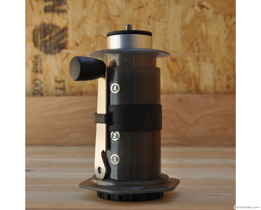 ... because it fits inside, the handle fitting into the holder that goes around the Aeropress.