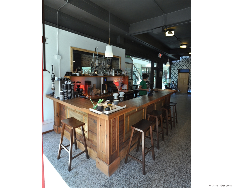 The coffee bar in more detail, seen here from the front, where there's a single stool...