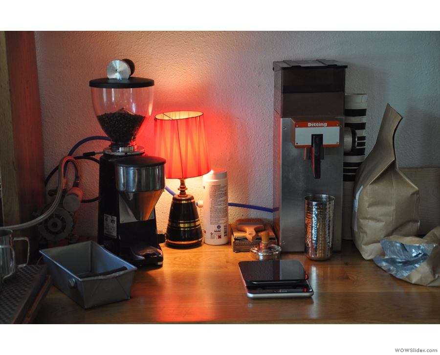 The boiler and the grinders for the coffee are off to the left...