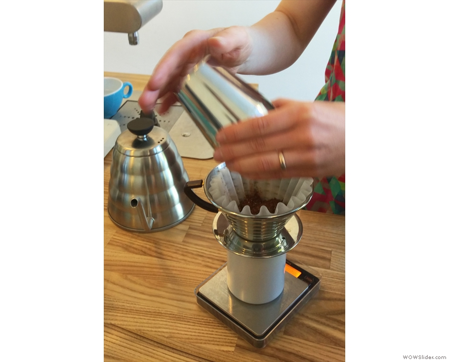 Then put it into the Kalita Wave.