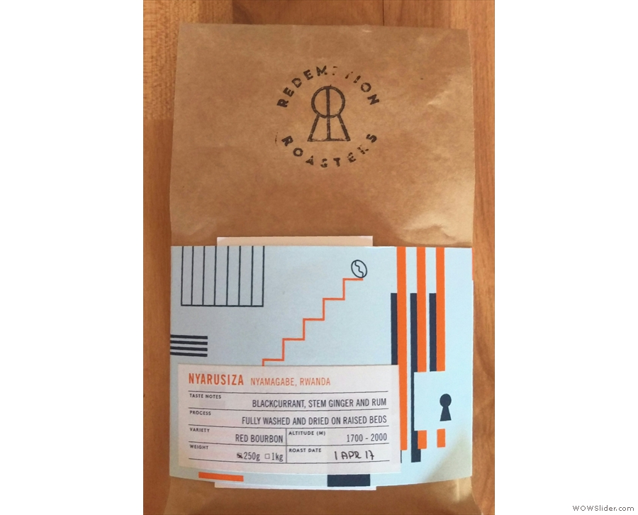 I was given a bag of this Rwandan single-origin take home with me.