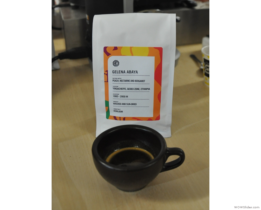 I had this well-balanced, smooth Ethiopian single-origin espresso.