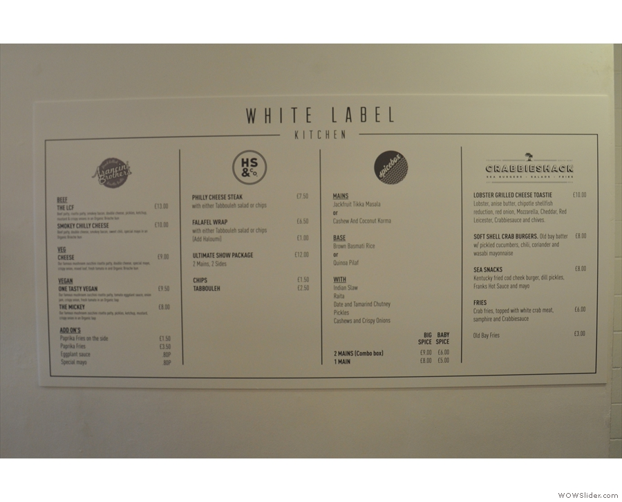 The menus are posted up on the wall to the right. with four different options.
