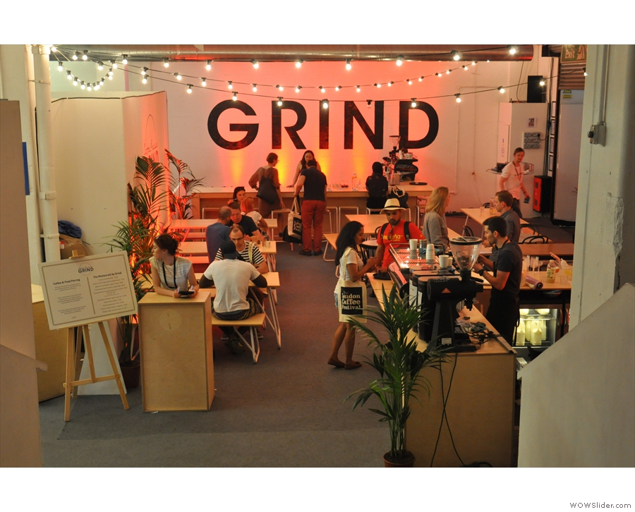 A welcome addition this year: the Grind Pop-up Restaurant, seen on a quiet afternoon.