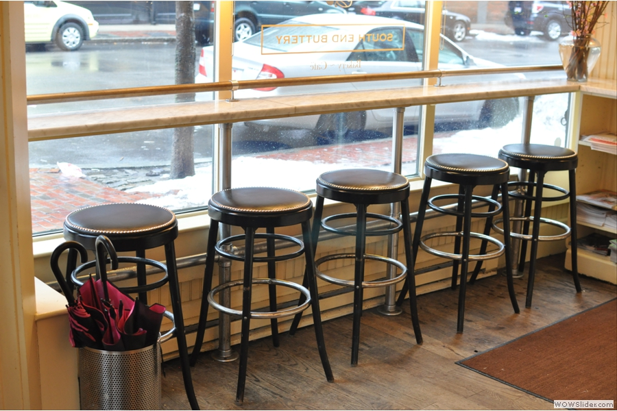 The bar stools in the front window are ideal for people-watching!