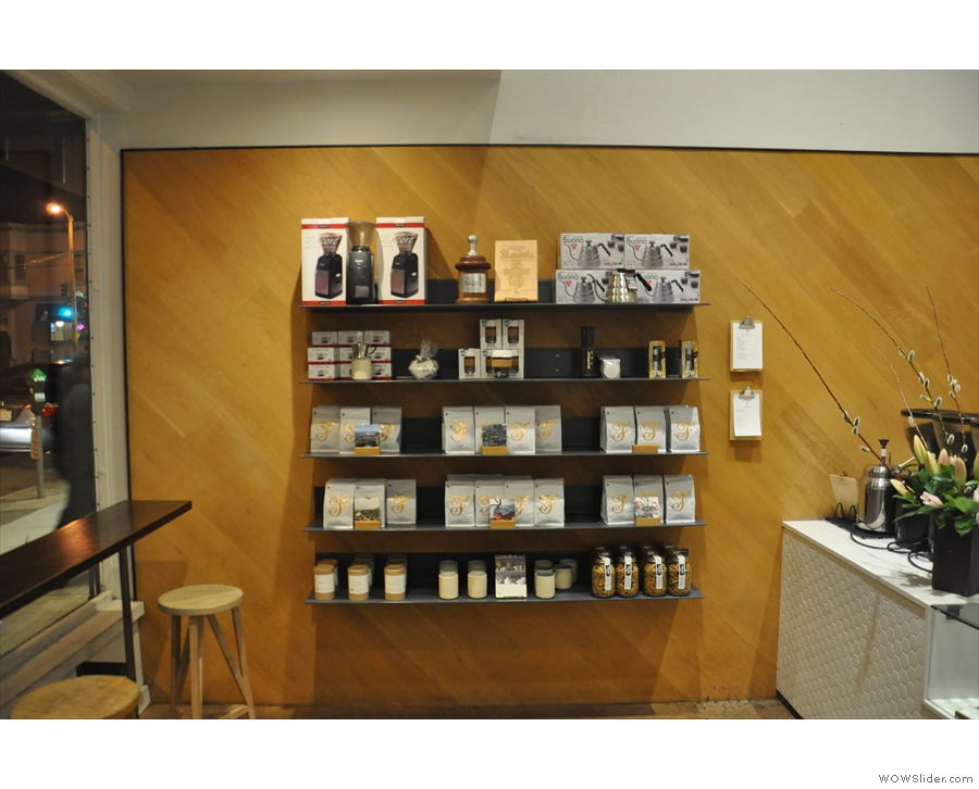 A roaster, as well as a coffee shop, Saint Frank has a retail shelf by the counter.