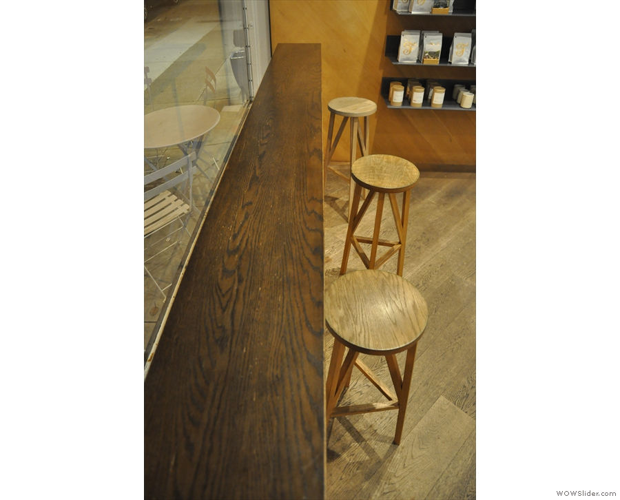 ... with three well-spaced bar-stools. Ideal for people-watching during the day.