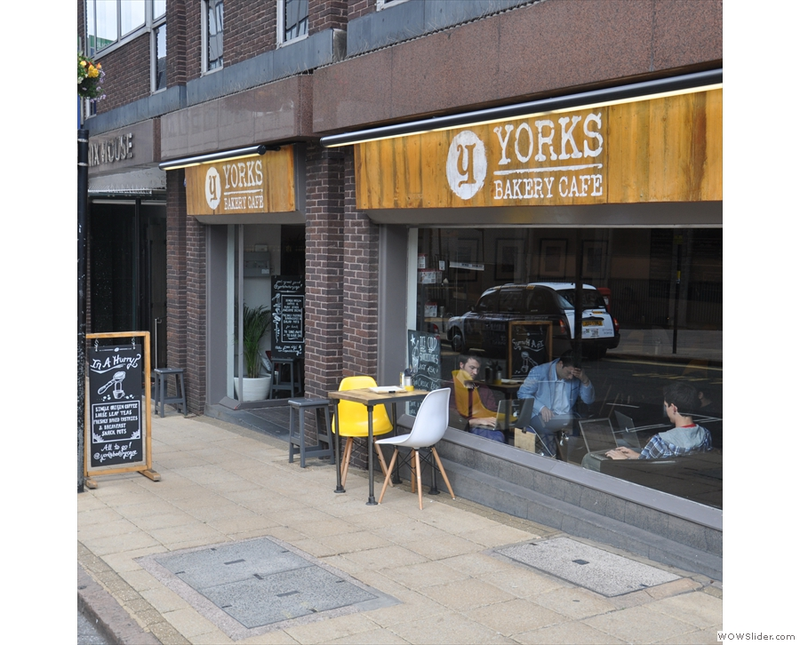 Yorks Bakery Cafe on Newhall Street, making good use of its store-front and the A-boards.