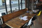 Another view of the bench and tables, as seen when you come in through the door.