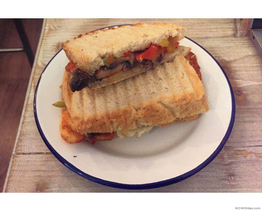 Spoiled for choice, I went for this excellent mushroom, pepper and halloumi sandwich.