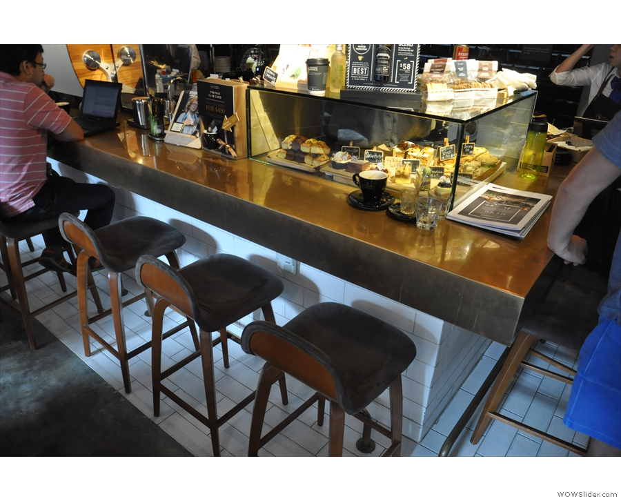 ... or you can sit at the counter itself, where these chairs line its length.