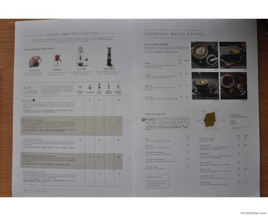 ... and a detailed, double page spread about the coffee options.