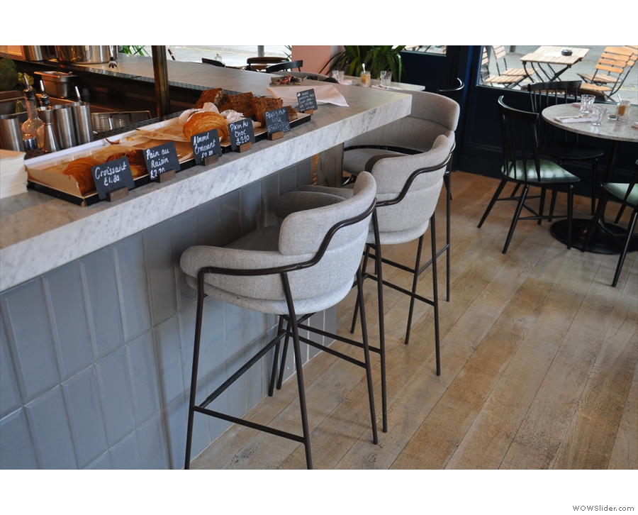 You can also sit at the counter in these comfortable-looking seats...
