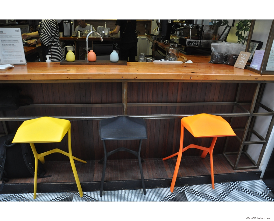 There's a neat little bar on the right with a choice of three bar stools.