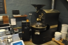 ...although, amazingly, there's enough room in the corner for this, the coffee roaster!