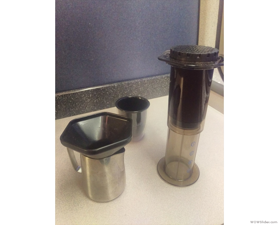 An Aeropress funnel is useful when plunging into a jug. Plus, train tables are more stable.