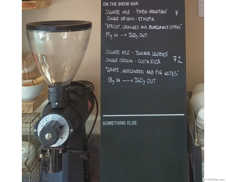 The filter coffee is ground on the ubiquitous EK-43, which also handles the second espresso.