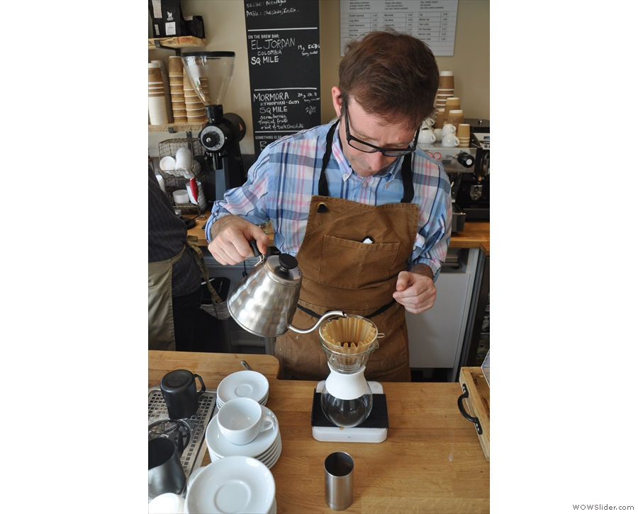 I also put Jonathon, the owner, to work, making some pour-over with the Kalita Wave.