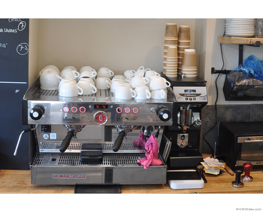 Coffee is available as espresso through the two-group La Marzocco & its Mythos 1 grinder.