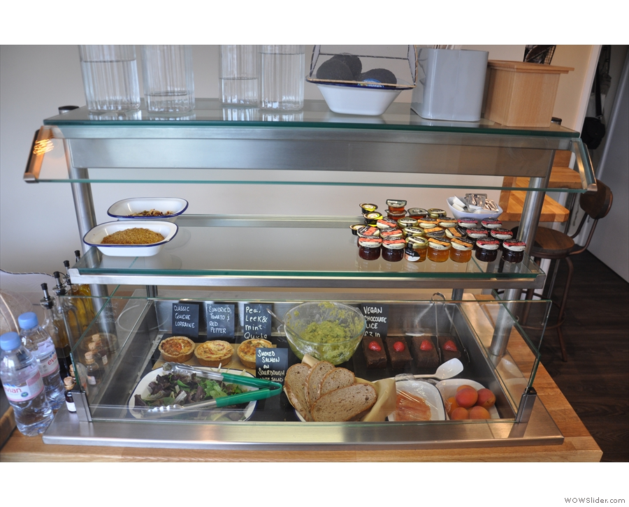 ... as well as salads and quiche in the chiller cabinet at the end of the counter.