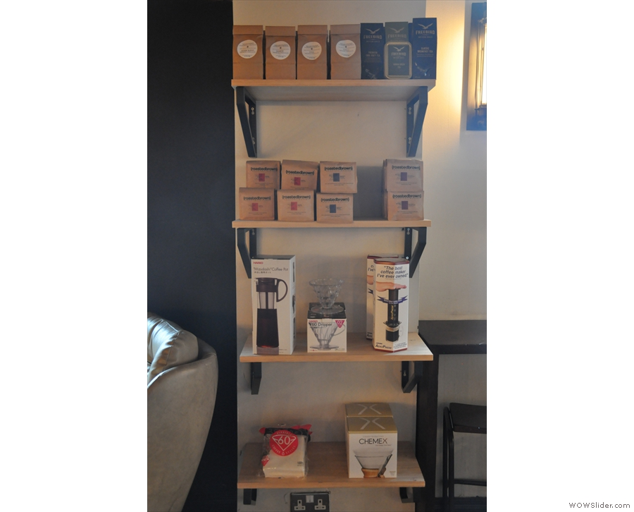 Back up in the coffee bar, Town Square has retail shelves full of coffee-making kit...