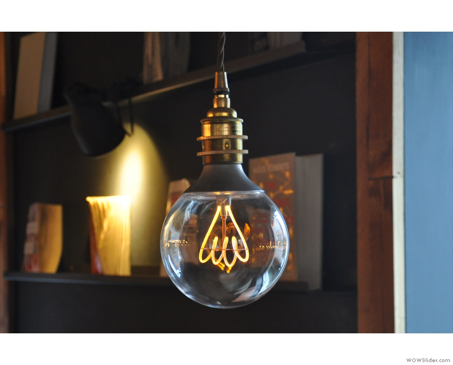 The lighting is quite subdued, despite a cast of excellent light bulbs, including this one.