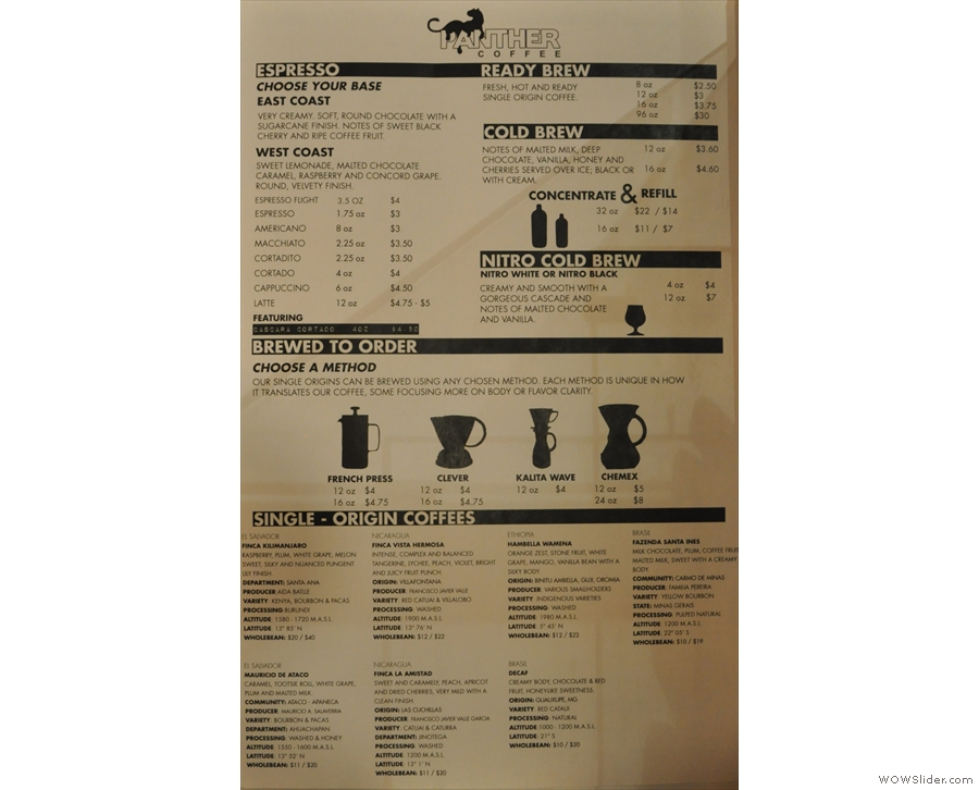Next comes the till, where you'll find an extremely comprehensive coffee menu...