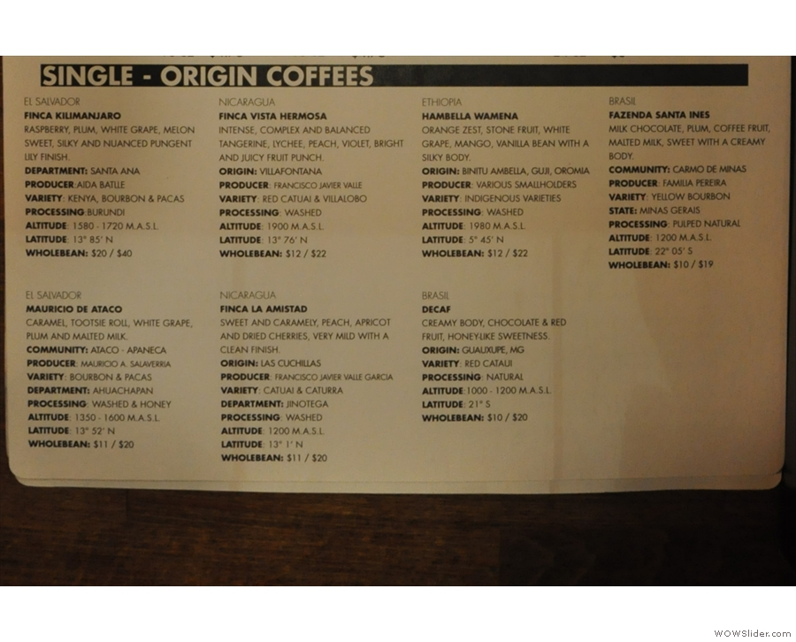 ... with plenty of details about the array of single-origin coffees that are on offer.