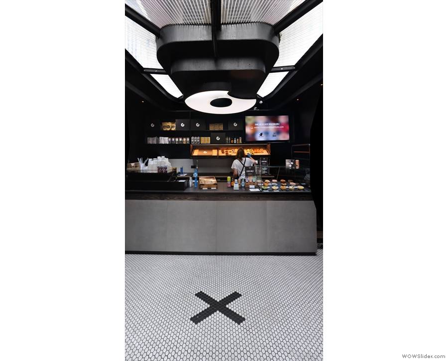 Inside, and the counter is directly ahead of you at the back of the pod.