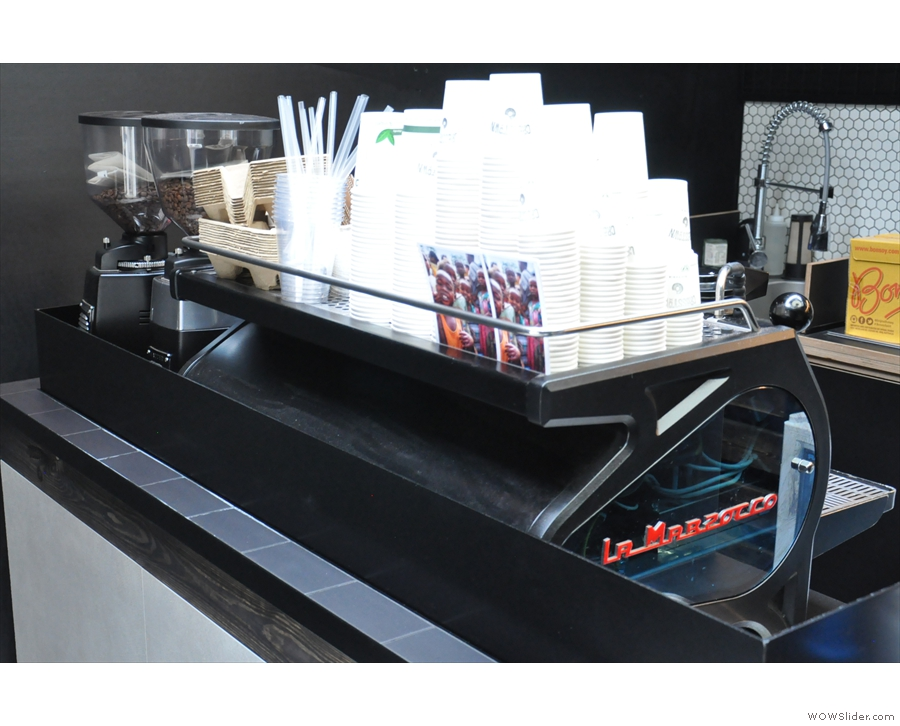 The coffee side of the operation is down the other end of the counter...