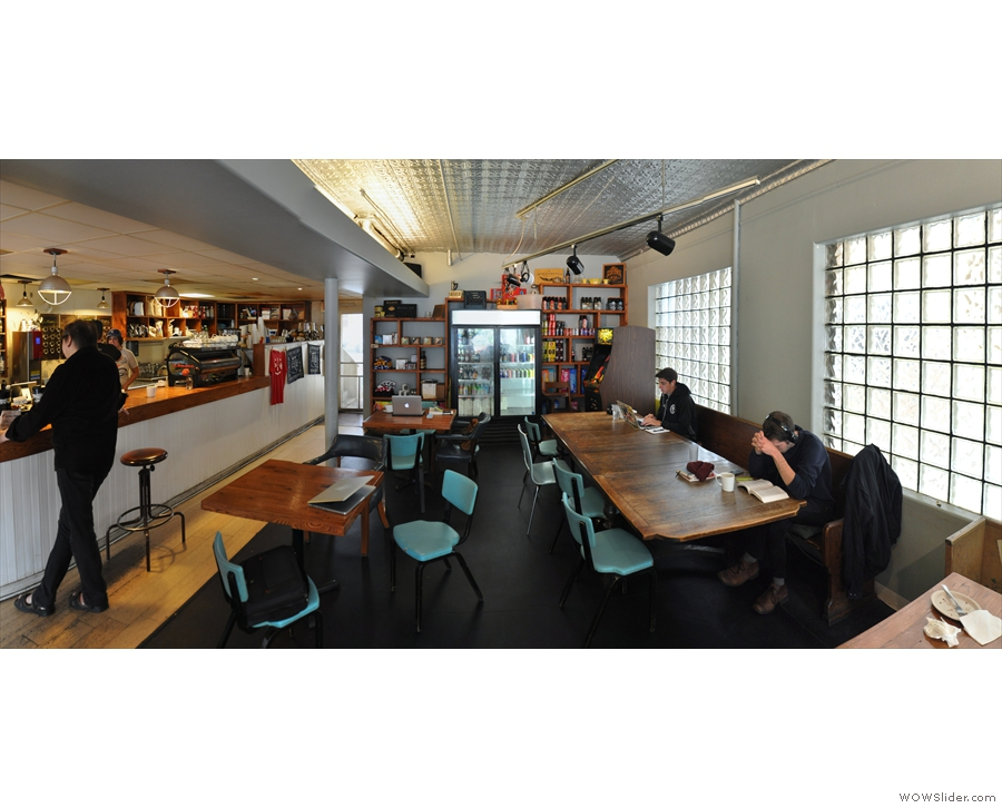 A panoramic view of the back of Johnson Public House, the counter on the left...