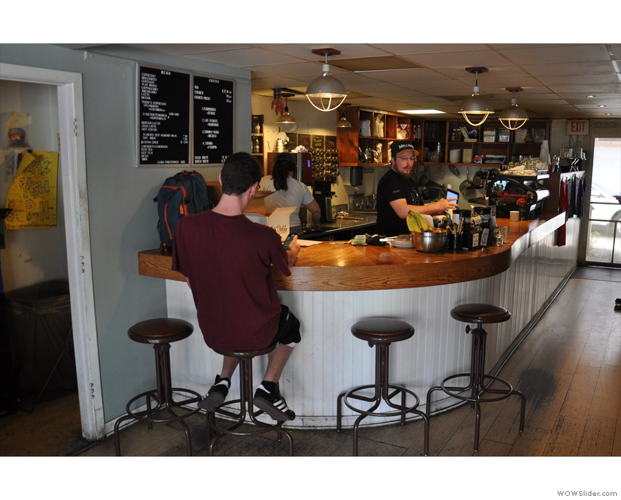 ... although you can sit at the curved part at the front on one of four bar stools.