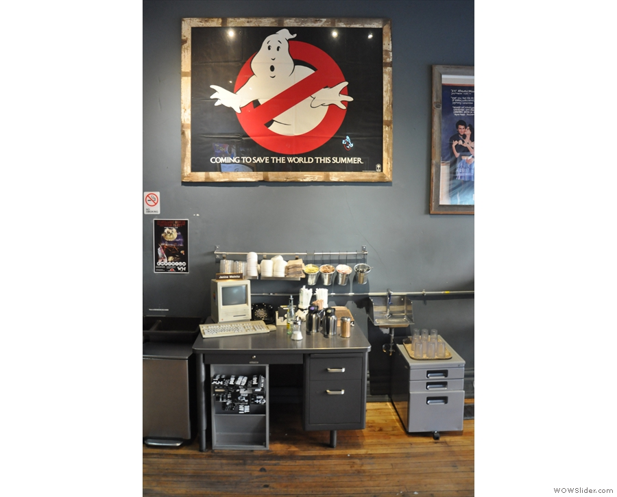 However, what makes Wormhole is the 80s sci-fi decor, such as this Ghostbusters poster...