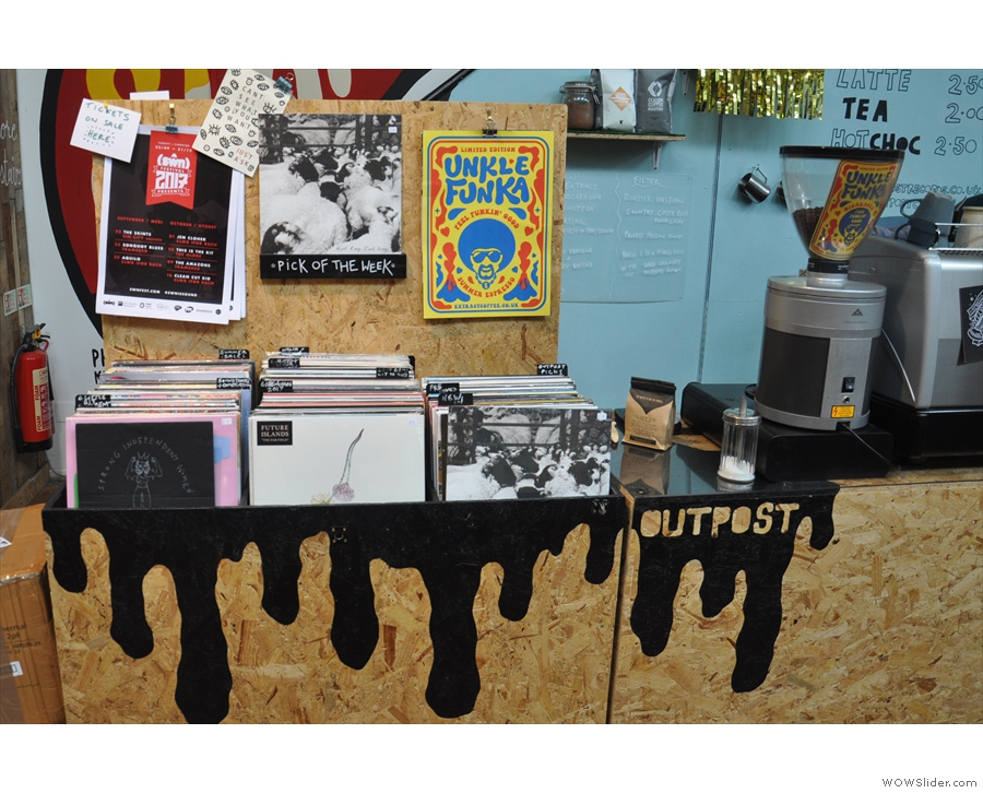 ... and vinyl (the clue's in the name) at the back. There's a small selection of LPs for sale.