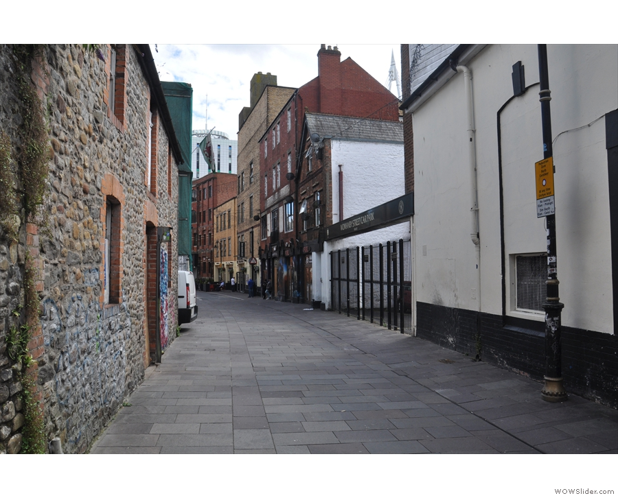 It points down Cardiff's Womanby Street, a long, pedestrianised street near the castle.