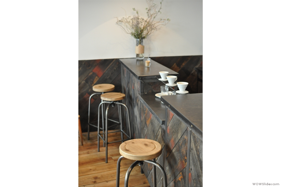The Brew Bar, complete with bar stools.