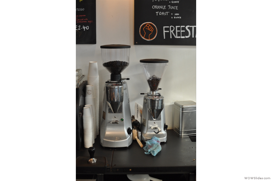 Like the Brew Bar, the Espresso Bar has a house blend from Union and a guest blend, each with its own grinder.
