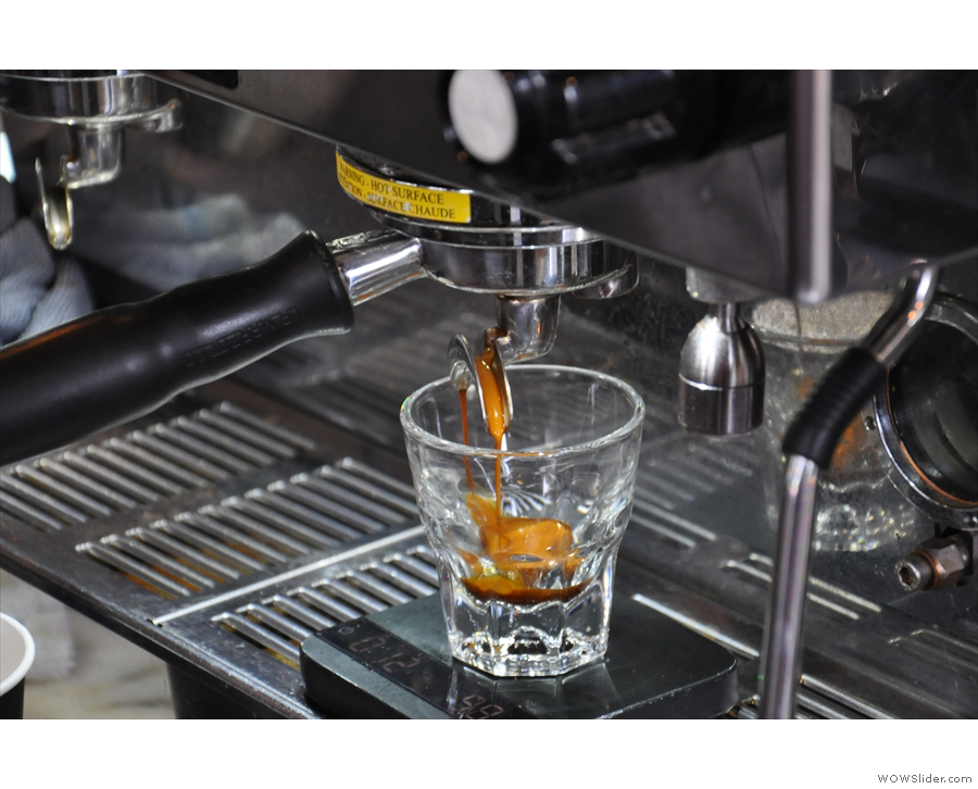I love watching espresso extract, especially into glass.