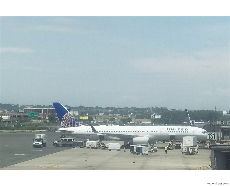 My 757 on the ground in sunny Newark, the only picture in this gallery.