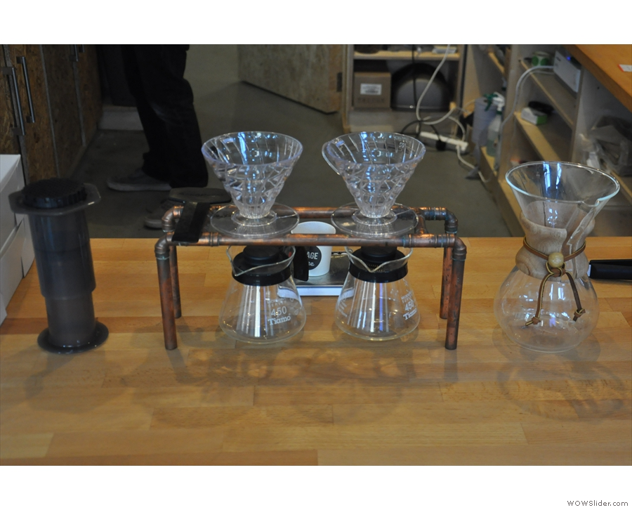 ... right next to the pour-over station. There's Aeropress, V60 and Chemex.