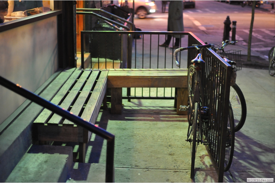 The benches outside Ninth Street Espresso on 9th Street