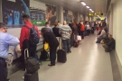 First, there's Manchester airport to contend with. Here, (pointless) queuing at the gate.