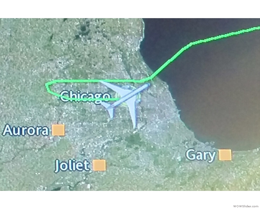 Safely on the ground at O'Hare, having approached, unusually, from the west.